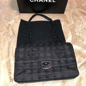 Chanel Black Embossed Fabric Handbag